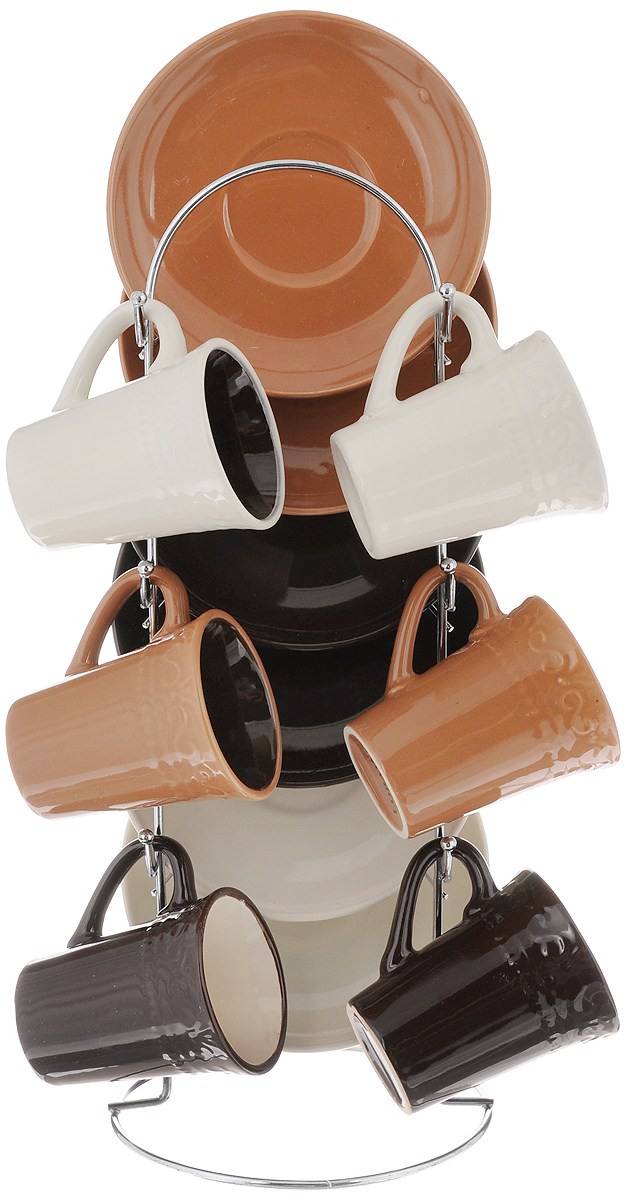 Набор кофейный Loraine, на подставке, 13 предметов. 246760115510Кофейный набор Loraine состоит из шести чашек и шести блюдец, изготовленных из высококачественной керамики. Чашки оформлены рельефным узором. Изделия расположены на металлической подставке. Можно использовать в СВЧ печи, холодильнике, а также разрешено мыть в посудомоечной машине. Объем чашки: 90 мл. Диаметр чашки (по верхнему краю): 5 см. Высота чашки: 6,8 см. Диаметр блюдца: 11,5 см. Размер подставки: 12 х 12 х 30 см.