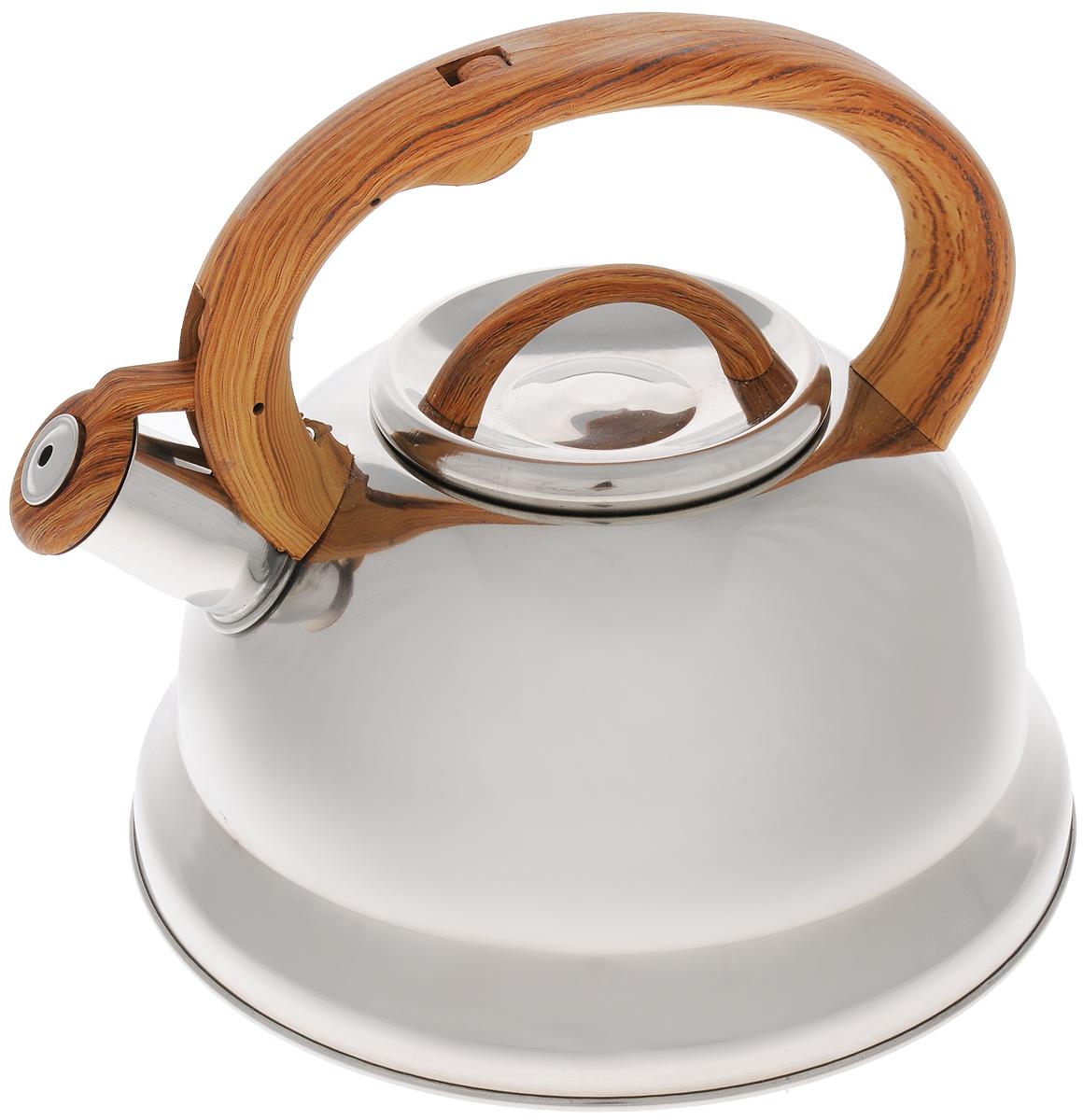 Чайник Mayer & Boch, со свистком, цвет: серебристый, коричневый, 3 л. 25745391602Чайник Mayer & Boch выполнен из долговечной и прочной нержавеющей стали, что делает его весьма гигиеничным и устойчивым к износу при длительном использовании. Гладкая и ровная поверхность существенно облегчает уход за посудой. Выполненный из качественных материалов чайник при кипячении сохраняет все полезные свойства воды. Изделие оснащено свистком, благодаря которому вы можете не беспокоиться о том, что закипевшая вода зальет плиту. Как только вода закипит - свисток оповестит вас об этом. Фиксированная ручка, изготовленная из пластика, делает использование чайника очень удобным и безопасным и отлично впишется в интерьер любой кухни.Подходит для всех типов плит, кроме индукционных. Можно мыть в посудомоечной машине..Высота чайника (с учетом ручки и крышки): 20 см. Диаметр основания: 22 см.Диаметр (по верхнему краю): 10 см.