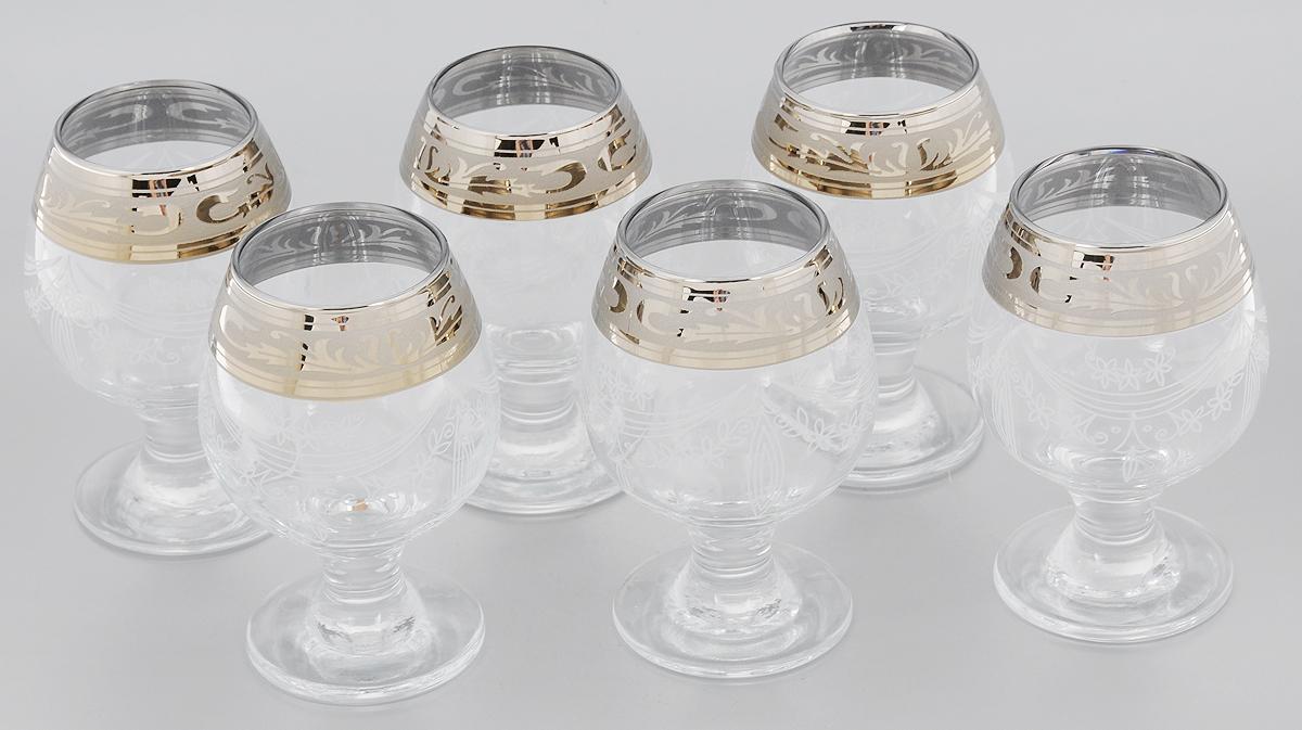 Набор бокалов для бренди Гусь-Хрустальный Русский узор, 250 мл, 6 штVT-1520(SR)Набор Гусь-Хрустальный Русский узор состоит из 6 бокалов на низкой ножке, изготовленных из высококачественного натрий-кальций-силикатного стекла. Изделия оформлены красивым зеркальным покрытием, широкой окантовкой с оригинальным узором и белым матовым орнаментом. Бокалы предназначены для подачи бренди. Такой набор прекрасно дополнит праздничный стол и станет желанным подарком в любом доме. Разрешается мыть в посудомоечной машине. Диаметр бокала (по верхнему краю): 5 см. Высота бокала: 12 см. Диаметр основания бокала: 6,5 см.