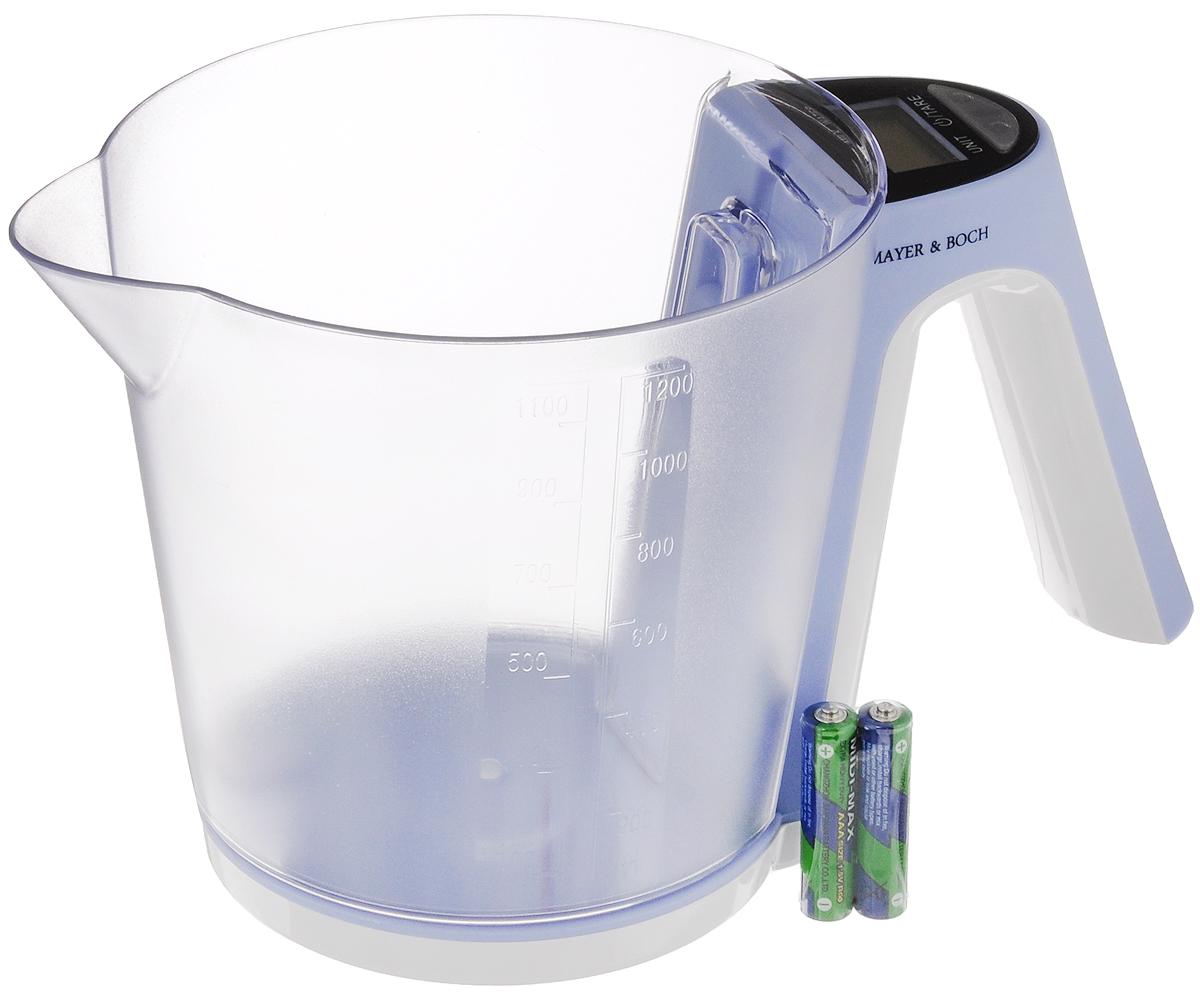 Весы кухонные Mayer & Bosh, с чашей, цвет: сиреневый, белый, до 2 кг. 10956L 15Весы кухонные Mayer & Boch позволят вам взвесить с точностью до грамма продукты весом до 2 кг. Корпус весов и чаша для продуктов выполнены из высококачественного пластика. Съемная чаша весов оформлена в виде большого мерного стакана. Весы оснащены электронным дисплеем. На корпусе расположены две кнопки управления: кнопка включения/отключения и обнуления веса - On/Off/Tare и кнопка выбора меры весов - Unit. Если вы забудете отключить весы, они отключатся автоматически. Дно весов снабжено четырьмя противоскользящими ножками. Кухонные весы Mayer & Boch придутся по душе каждой хозяйке и станут незаменимым аксессуаром на кухне.Нагрузка: 2-2000 г. Питание: 2 х ААА (входят в комплект).Размер весов: 20 х 13 х 11 см.Размер мерного стакана: 15,5 х 14 х 13 см.Объем стакана: 1200 мл.