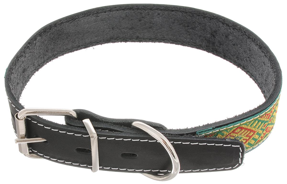 """Ошейник для собак Каскад """"Классика"""", цвет: черный, зеленый, желтый, ширина 3,5 см, обхват шеи 50-59 см"""
