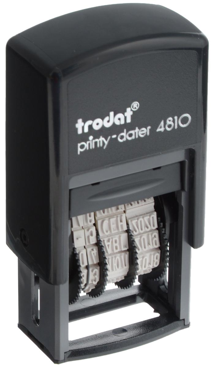 Trodat Мини-датер Printy месяц прописью4810Компактный мини-датер Trodat Printy с пластиковым корпусом и автоматическим окрашиванием рассчитан на 12 лет, включая текущий год.Установка даты осуществляется с помощью колесиков. Высота шрифта - 3,8 мм. Оттиск однострочный. Месяц указывается прописью.