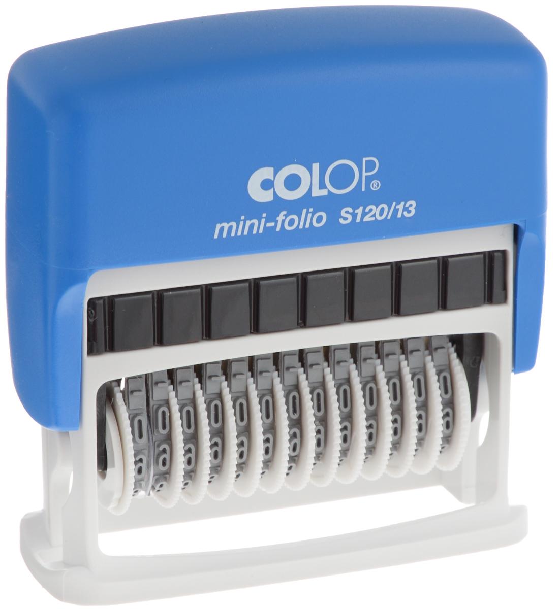 Colop Мини-нумератор тринадцатиразрядный 4 ммFS-00897Мини-нумератор Colop в пластиковом корпусе с автоматическим окрашиванием.Установка номера происходит с помощью колесиков. Используется для нумерации документов, проставления артикулов, цен и другого.В комплекте: нумератор, синяя сменная подушка. Высота цифр - 4 мм. Тринадцатиразрядный.