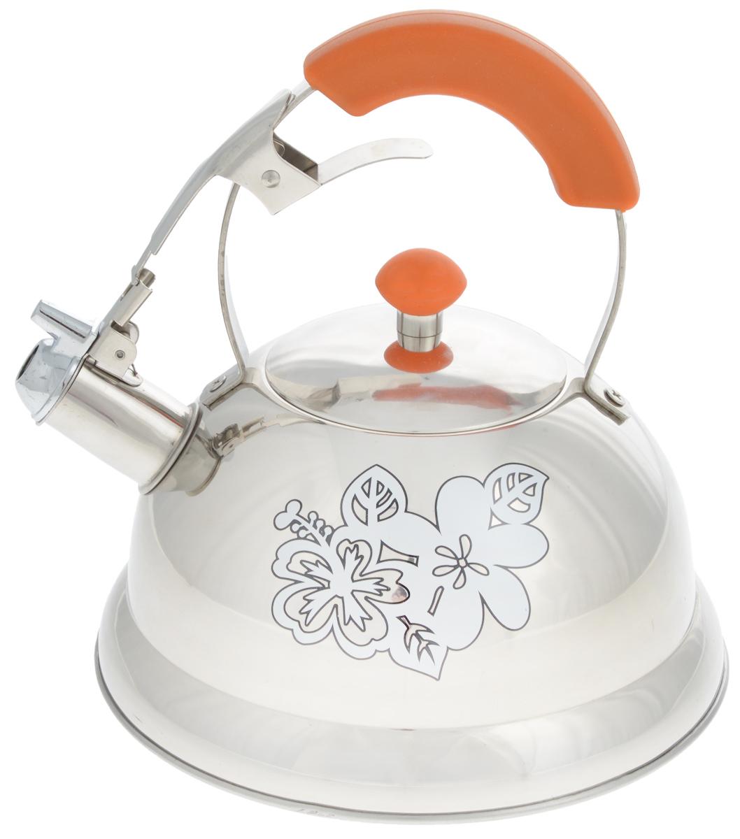 Чайник Mayer & Boch, со свистком, 2,6 л115510Чайник Mayer & Boch выполнен из высококачественной нержавеющей стали. Носик чайника оснащен насадкой-свистком, что позволит вам контролировать процесс подогрева или кипячения воды. Металлическая ручка с бакелитовой вставкой делает использование чайника очень удобным и безопасным.Внешние стенки чайника декорированы изображением цветов. Эстетичный и функциональный чайник будет оригинально смотреться в любом интерьере.Подходит для газовых, электрических, стеклокерамических и индукционных плит. Можно мыть в посудомоечной машине. Диаметр чайника (по верхнему краю): 10 см.Диаметр основания: 22 см. Высота чайника (без учета ручки): 11,5 см.Высота чайника (с учетом ручки): 24,5 см.