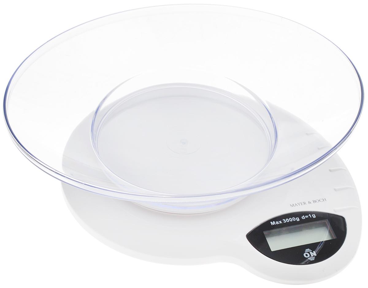 Весы кухонные Mayer & Bosh, с чашей, цвет: белый, черный, до 3 кг. 20910LS-561Кухонные весы Mayer & Boch изготовлены из высококачественного пластика. Изделие оснащеноакриловой панелью и съемной чашей. Весы имеют цифровой LCD-дисплей с функциейавтоматического отключения и тарокомпенсации, а также мощный процессор и тензометрическийдатчик высокой прочности. Кухонные весы Mayer & Boch пригодятся на любой кухне и станут прекрасным дополнением кнабору вашей мелкой бытовой техники. Используя их, вы сможете готовить блюда, точно следуяпредложенной рецептуре, что немаловажно при приготовлении сложных блюд, соусов и выпечки.Оригинальные, с ярким дизайном, такие весы украсят любую кухню и принесут радость каждойхозяйке. Нагрузка: 2 г - 3000 г.Размер весов: 20 х 19 х 4,5 см. Размер чаши: 22,5 х 18 х 5 см. Питание: 2 х ААА (входят в комплект).