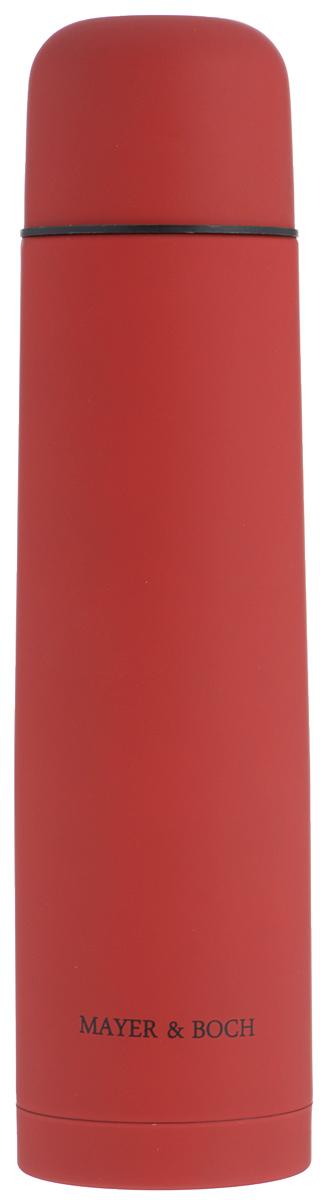 Термос Mayer & Boch, цвет: красный, 1л. 25880115510Термос Mayer & Boch выполнен из качественной нержавеющей стали, которая не вступает в реакцию с содержимым термоса и не изменяет вкусовых качеств напитка. Двойная стенка из нержавеющей стали сохраняет температуру на срок до 24-х часов.Вакуумный закручивающийся клапан предохраняет от проливаний, а удобная кнопка-дозатор избавит от необходимости каждый раз откручивать крышку. Крышку можно использовать как чашку. Цветное покрытие обеспечивает защиту от истирания корпуса. Данная модель термоса прочная, долговечная и в то же время легкая.Стильный металлический термос понравится абсолютно всем и впишется в любой интерьер кухни.Не рекомендуется мыть в посудомоечной машине.Диаметр горлышка: 5 см.Диаметр основания термоса: 8 см.Высота термоса: 31,5 см.