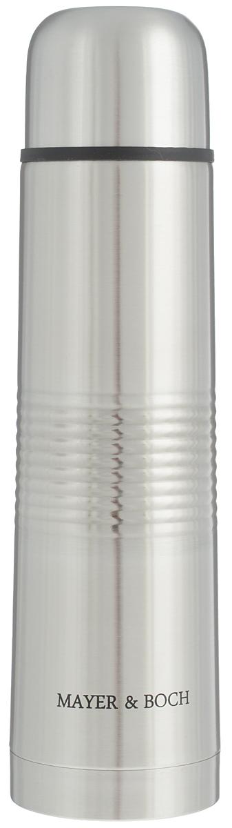 Термос Mayer & Boch, 750 мл. 25883VT-1520(SR)Термос Mayer & Boch выполнен из высококачественной нержавеющей стали, которая не вступает в реакцию с содержимым термоса и не изменяет вкусовых качеств напитка. Двойная стенка из нержавеющей стали сохраняет температуру напитков в течение 24 часов.Вакуумный закручивающийся клапан предохраняет от проливаний, а удобная кнопка-дозатор избавит от необходимости каждый раз откручивать крышку. Крышку можно использовать как чашку. Ребристая поверхность термоса предотвратит скольжение рук. Данная модель термоса прочная, долговечная и в то же время легкая.Термос Mayer & Boch понравится абсолютно всем и впишется в любой интерьер кухни.Не рекомендуется мыть в посудомоечной машине.Диаметр горлышка: 4,4 см.Диаметр основания термоса: 7,5 см.Высота термоса: 28,5 см.
