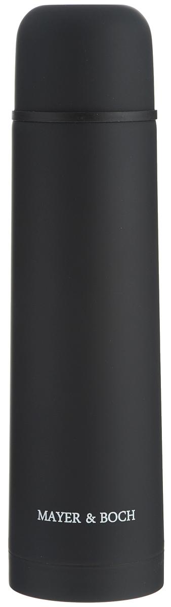 Термос Mayer & Boch, цвет: черный, 750 мл. 25891115510Термос Mayer & Boch выполнен из качественной нержавеющей стали, которая не вступает в реакцию с содержимым термоса и не изменяет вкусовых качеств напитка. Двойная стенка из нержавеющей стали сохраняет температуру на срок до 24-х часов.Вакуумный закручивающийся клапан предохраняет от проливаний, а удобная кнопка-дозатор избавит от необходимости каждый раз откручивать крышку. Крышку можно использовать как чашку. Цветное покрытие обеспечивает защиту от истирания корпуса. Данная модель термоса прочная, долговечная и в тоже время легкая.Стильный металлический термос понравится абсолютно всем и впишется в любой интерьер кухни.Не рекомендуется мыть в посудомоечной машине.Диаметр горлышка: 4,4 см.Диаметр основания термоса: 7,5 см.Высота термоса: 28,5 см.