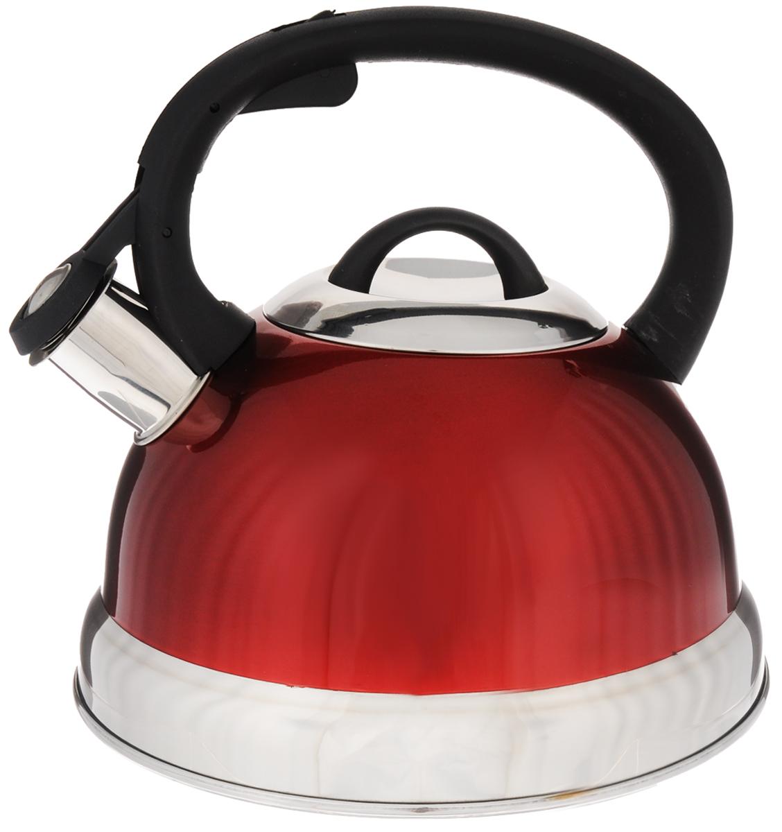 Чайник Mayer & Boch, со свистком, цвет: красный, черный, серебристый, 2,6 л. 27VT-1520(SR)Чайник Mayer & Boch выполнен из высококачественной нержавеющей стали, что делает его весьма гигиеничным и устойчивым к износу при длительном использовании. Носик чайника оснащен насадкой-свистком, что позволит вам контролировать процесс подогрева или кипячения воды. Фиксированная ручка, изготовленная из пластика, делает использование чайника очень удобным и безопасным. Поверхность чайника гладкая, что облегчает уход за ним. Эстетичный и функциональный чайник будет оригинально смотреться в любом интерьере.Подходит для всех типов плит, включая индукционные. Можно мыть в посудомоечной машине.Высота чайника (с учетом ручки и крышки): 20,5 см.Диаметр чайника (по верхнему краю): 10,5 см.Диаметр основания: 21 см.Диаметр индукционного диска: 14,5 см.
