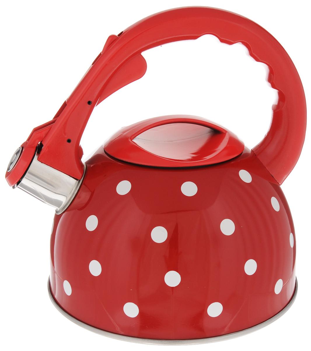 Чайник Mayer & Boch Горох, со свистком, 2,5 л. 26046115510Чайник со свистком Mayer & Boch изготовлен из высококачественной нержавеющей стали, что обеспечивает долговечность использования. Носик чайника оснащен откидным свистком, звуковой сигнал которого подскажет, когда закипит вода. Фиксированная ручка, изготовленная из пластика и цинка, снабжена клавишей для открывания носика, что делает использование чайника очень удобным и безопасным.Чайник Mayer & Boch - качественное исполнение и стильное решение для вашей кухни. Подходит для всех типов плит, включая индукционные. Можно мыть в посудомоечной машине. Высота чайника (с учетом ручки): 22,5 см.Высота чайника (без учета ручки и крышки): 12 см.Диаметр чайника (по верхнему краю): 10 см.Диаметр основания: 19 см.