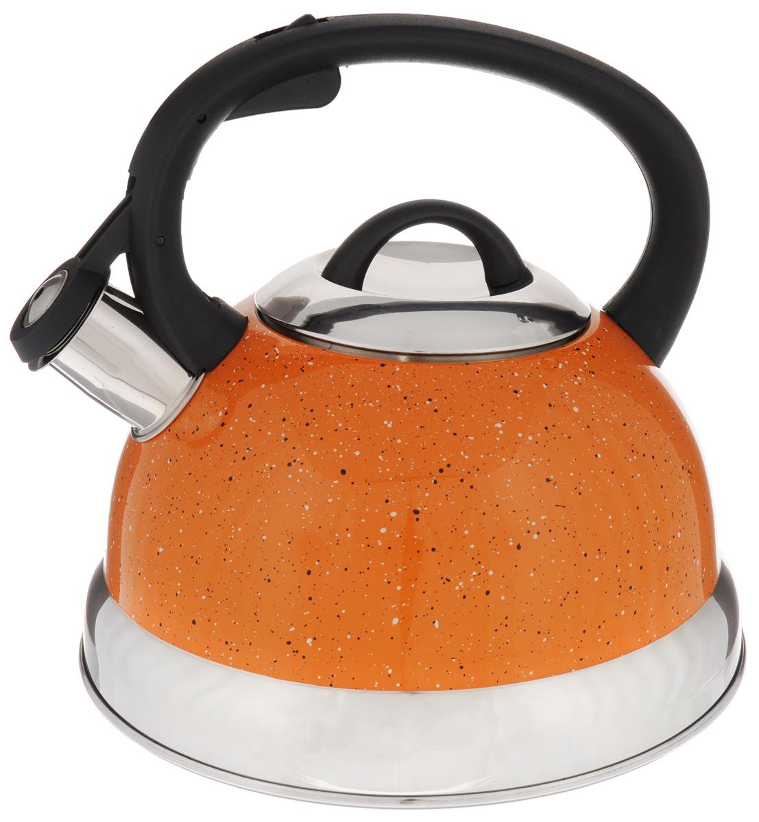 Чайник Mayer & Boch, со свистком, цвет: оранжевый, 2,6 л. 2566268/5/4Чайник со свистком Mayer & Boch изготовлен из высококачественной нержавеющей стали, что обеспечивает долговечность использования. Носик чайника оснащен откидным свистком, звуковой сигнал которого подскажет, когда закипит вода. Фиксированная ручка, изготовленная из пластика, снабжена клавишей для открывания носика, что делает использование чайника очень удобным и безопасным.Чайник Mayer & Boch - качественное исполнение и стильное решение для вашей кухни. Подходит для всех типов плит, включая индукционные. Можно мыть в посудомоечной машине. Высота чайника (с учетом ручки): 20,5 см.Диаметр чайника (по верхнему краю): 10 см.Диаметр основания: 21 см.