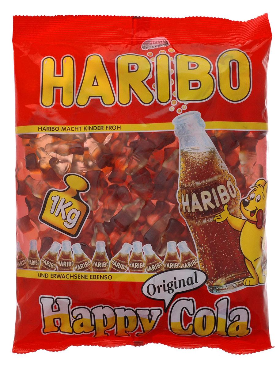 Haribo Happy Cola жевательный мармелад, 1 кг0120710Haribo Happy Cola – оригинальный формат в категории жевательного мармелада с насыщенным моновкусом любимого всеми напитка! Его любят и взрослые, и дети! Happy Cola со вкусом колы – это настоящая классика в продуктовой линейке Haribo, ваш заряд энергии на целый день!