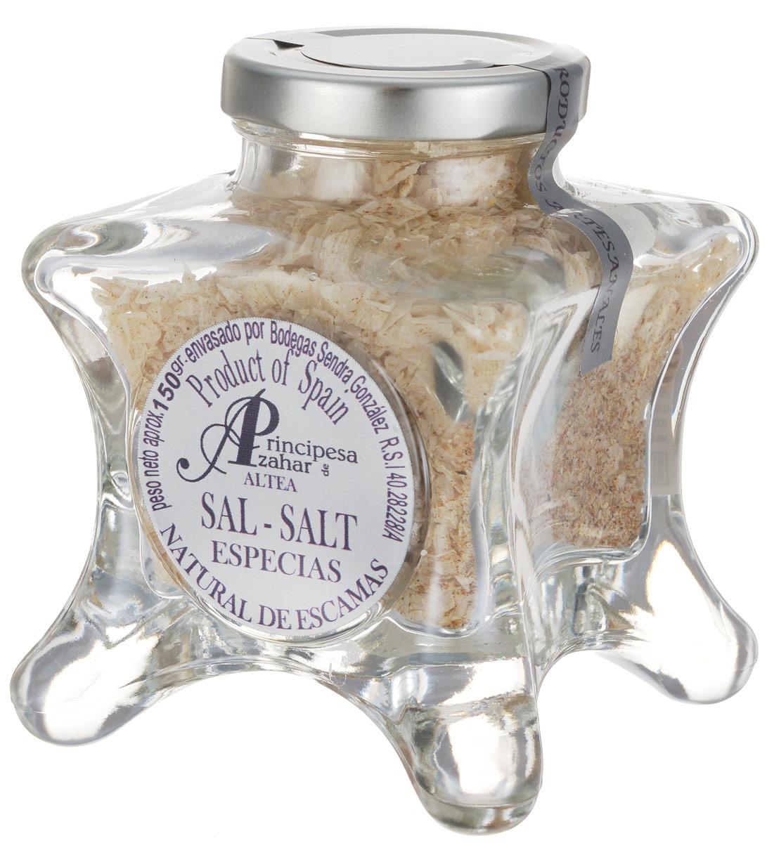 Principe de Azahar морская пищевая соль с пряными травами, 150 г0120710Пищевая натуральная морская соль с пряными травами Principe de Azahar от фермера Sendra Gonzalez - это продукт для гурманов, а также любителей кулинарии с воображением. Морская соль полезнее обычной поваренной, так как содержит высокую концентрацию магния и других полезных веществ. Размер кристаллов составляет 4-12 мм.