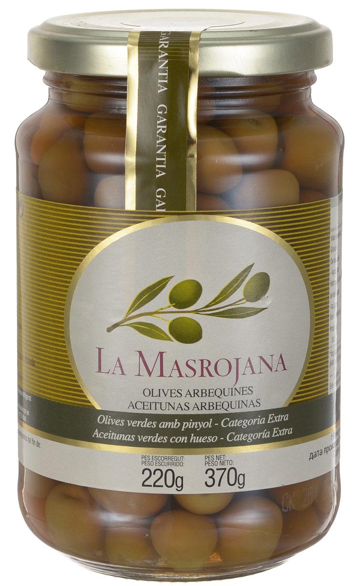 La Masrojana оливки зеленые сорта Арбекина с косточкой, 220 г0120710Зеленые оливки La Masrojana сорта Арбекина с косточкой характеризуются как вид мелкокалиберных, но они обладают особенным вкусом. Процесс переработки и консервации оливок абсолютно натуральный, как ингредиенты используются только вода и морская соль. Без искусственных добавок: консервантов, красителей и усилителей вкуса! Идеальны как закуска в средиземноморском стиле и в салаты. Эти оливки используют также при тушении мяса для придания аромата и пикантного вкуса. Так же его можно употреблять в месте с отварными овощами.Арбекина - знаменитый сорт оливок культивировался изначально в Каталонии, но позже был адаптирован к произрастанию также и в Андалуси, и Эстремадуре. Из-за своего небольшого размера эти оливки собирают вручную, но они содержат большое количество масла.