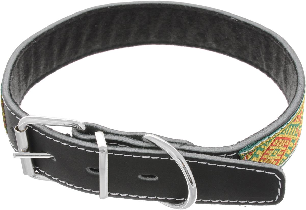 Ошейник для собак Каскад Классика, цвет: черный, зеленый, желтый, ширина 3,5 см, обхват шеи 50-59 см12171996Ошейник для собак Каскад Классика изготовлен из кожи и декорирован оригинальной тесьмой. Он устойчив к влажности и перепадам температур. Внутренняя сторона ошейника выполнена из синтепона. Клеевой слой, сверхпрочные нити, крепкие металлические элементы делают ошейник надежным и долговечным.Обхват ошейника регулируется при помощи пряжки. Ошейник оснащен металлическим кольцом для крепления поводка. Изделие отличается высоким качеством, удобством и универсальностью. Минимальный обхват шеи: 50 см. Максимальный обхват шеи: 59 см. Ширина ошейника: 3,5 см. Длина ошейника: 69 см.