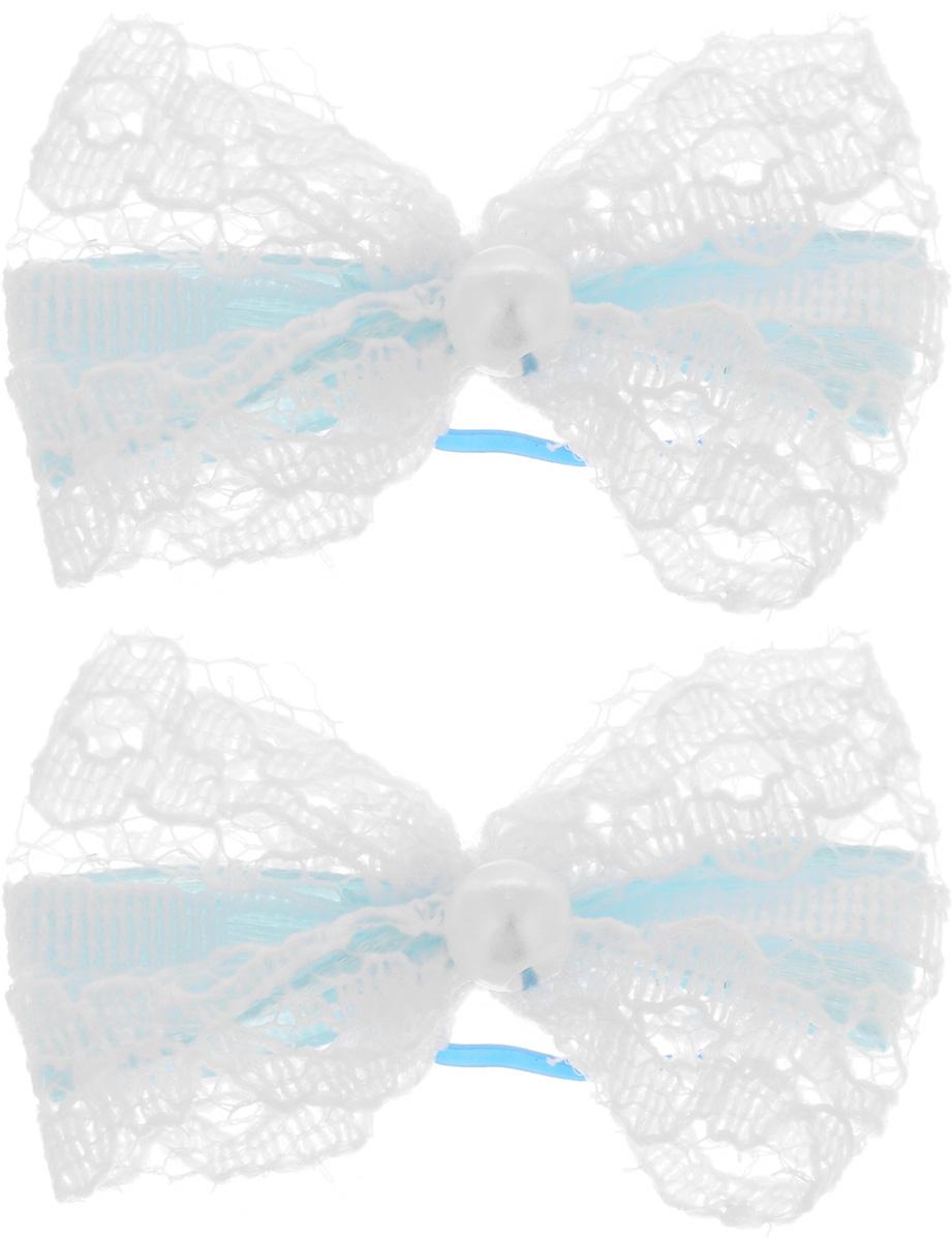 Резинка для животных Каскад Бант кружевной, цвет: белый, голубой, 3,5 х 2,5 см, 2 шт18309Резинка для животных Каскад Бант кружевной - это красивое и стильное украшение для собак мелких пород и других животных. Изделия выполнены из текстиля, декорированы кружевом и бусиной. Крепятся при помощи латексной резинки. Размер банта: 3,5 х 2,5 см.