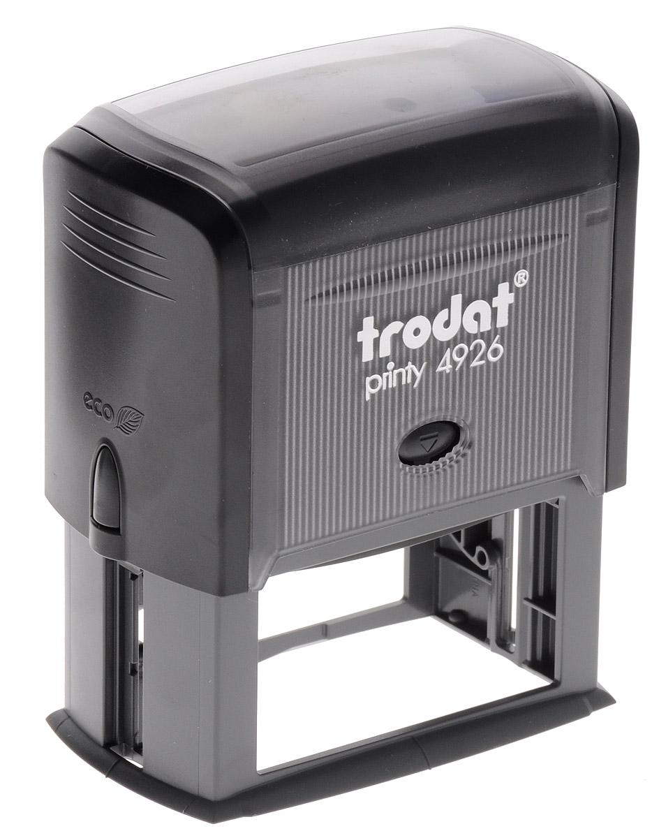 Trodat Оснастка для штампа 75 х 38 мм4926 P3Оснастка для штампа Trodat будет незаменима в отделе кадров или в бухгалтерии любой компании. Прочный пластиковый корпус с автоматическим окрашиванием гарантирует долговечное бесперебойное использование. Модель отличается высочайшим удобством в использовании и оптимально ложится в руку. Оттиск проставляется практически бесшумно, легким нажатием руки. Улучшенная конструкция и видимая площадь печати гарантируют качество и точность оттиска. Текстовые пластины прямоугольной формы 75 х 38 мм подойдут для изготовления клише по индивидуальному заказу. Модель оснащена кнопками блокировки.Оснастка для штампа Trodat идеальна для ежедневного использования в офисе.