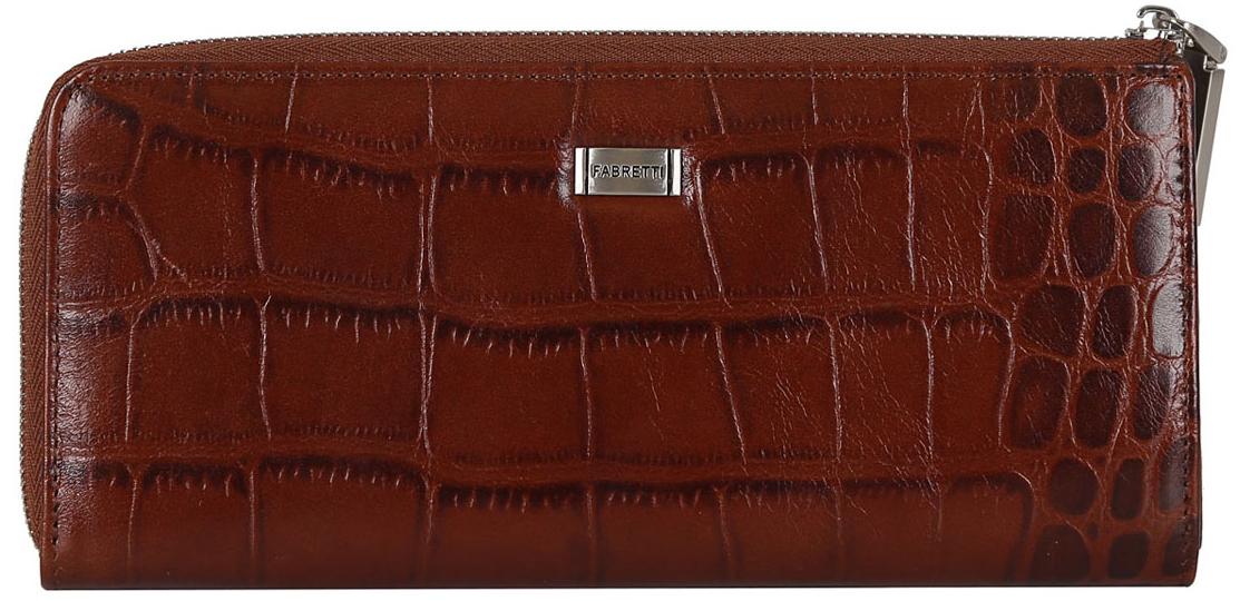Кошелек женский Fabretti, цвет: красно-коричневый. 76002BM8434-58AEЖенский кошелек Fabretti выполнен из натуральной кожи. Внутри два отделения для купюр,дополнительный карман, который закрывается на пластиковую молнию. Также в нем расположены 12 держателей для кредитных карт. Аксессуар закрывается на металлическую молнию.