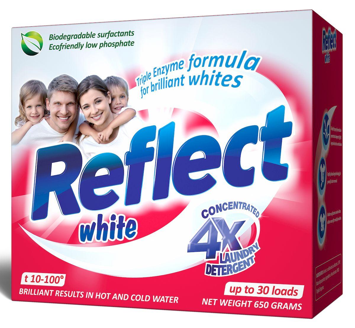 Стиральный порошок Reflect White, концентрированный, для белых и светлых тканей, 650 г43596/3-0523/3-0528Концентрированный стиральный порошок Reflect White предназначен для стирки белых и светлых тканей.Особенности порошка Reflect White: - придает белоснежность и яркость белым тканям от стирки к стирке, - отстирывает самые сильные загрязнения (воротнички, манжеты), - антибактериальный, уничтожает 99,9% известных бактерий,- обладает высокой моющей способностью в широком диапазоне температур (10°C-100°C), - предупреждает образование накипи на водонагревательном элементе, - удаляет пятна и загрязнения различного происхождения, не повреждая структуру ткани, - в состав входит энзим (антипиллинг), который предотвращает образование ворсистости на ткани, - подходит для всех типов ткани, включая ткани с мембранным покрытием, кроме шерсти и шелка- универсальный - для машинной и ручной стирки. Товар сертифицирован.