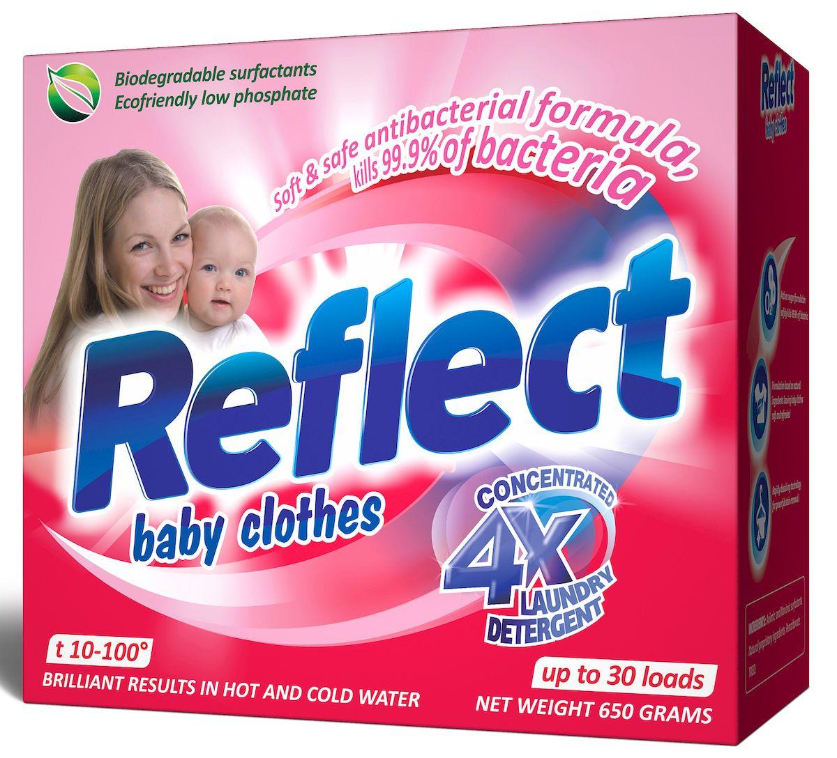 Стиральный порошок Reflect Baby Clothes, концентрированный, 650 г106-026Reflect Baby Clothes - это концентрированный стиральный порошок для детского белья с первых дней жизни ребенка от 0 месяцев. На основе натурального мыла легко справляется со специфическими загрязнениями от жизнедеятельности ребенка.Стиральный порошок Reflect Baby Clothes:- отлично удаляет пятна (молоко, детское питание, каши, пюре, сок и т.д.); - гипоаллергенный, для людей с чувствительной кожей;- для всех типов ткани, включая шерсть; - от 10 до 100°С для белого и цветного белья, обновляет цвет, сохраняет структуру ткани; - экопродукт, полностью выполаскивается.
