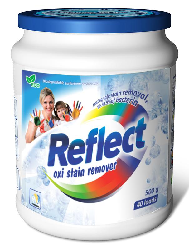 Кислородный пятновыводитель Reflect Oxi Stain Remover, 500 гS03301004Пятновыводитель и усилитель порошка на основе активного кислорода для стирки цветных и белых изделий из натуральных и смешанных волокон. Последние научные разработки. Взаимодействие активного кислорода с энзимами дает высокий результат по выведению глубоко въевшихся пятен с цветных и белых тканей. Рекомендован для усиления стирального порошка. Это супер концентрированная добавка к порошку, которая многократно увеличивает его действие, максимально удаляет пятна различного происхождения: жировые (оливковое и подсолнечное масло, жир), растительные (кофе, чай, вино), белковые (кровь, молоко, яйцо, соус).