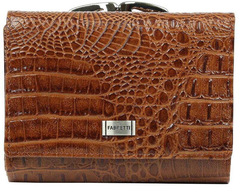 Кошелек женский Fabretti, цвет: коричневый. 47009ERJAA03224-WBT0Кошелек Fabretti выполнен из натуральной лаковой кожи с тиснением под рептилию. Изделие оформлено металлической пластинкой с названием бренда. Внутри расположено вместительное отделение для купюр, три горизонтальных кармана, пять вертикальных карманов для визитных и дисконтных карт, одно из которых с прозрачным окошком. Отделение закрывается клапаном на кнопку. Также внутри находится отделение, закрывающееся на кнопку, которое состоит из пяти карманов, одно из которых с пластиковым окошком. Кошелек имеет отдельный карман для мелочи, закрывающийся на рамочный замок.