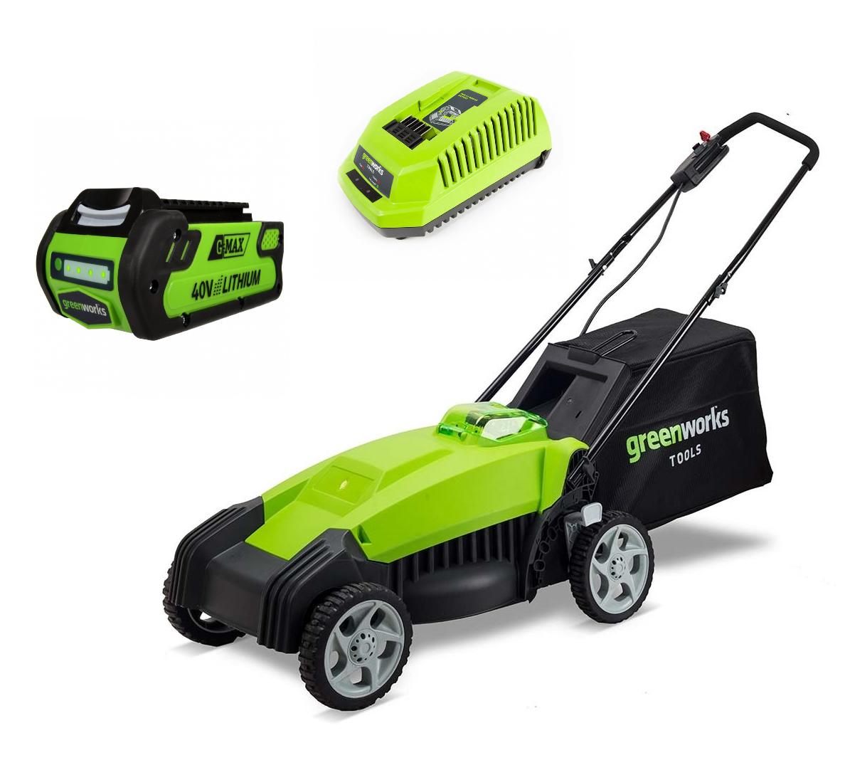 """Газонокосилка аккумуляторная Greenworks G-MAX G40LM35, 40 В, 35 см (комплект)2500067аГазонокосилка аккумуляторная Greenworks G-MAX G40LM35 - это полупрофессиональная модель для стрижки газонов в домашних хозяйствах. Газонокосилка оборудована системой защиты двигателя от механических повреждений камнями. Данная модель оснащена травосборником и обладает функцией мульчирования. Травосборник служит для сбора скошенной травы. Таким образом, предотвращается выгрузка на газон, который вы скашиваете. Мульчирующая заглушка, закрывающая заднее разгрузочное отверстие, позволяет ножу косилки измельчать срезанную траву. Удобный 5-ступенчатый рычаг обеспечивает регулировку высоты скашивания от 32 мм до 85 мм. Удобная рукоятка, 6"""" передние и 7"""" задние колеса позволят комфортно управлять газонокосилкой. Рама газонокосилки имеет складную конструкцию, для удобства транспортировки и хранения. Эта модель моментально готова к работе нажатием одной кнопки. Благодаря питанию от 40V аккумулятора газонокосилка обеспечивает долгую автономную работу. Данный аккумулятор совместим с другими устройствами из линейки G-MAX 40V. Для безопасной работы газонокосилка оснащена ключом безопасности. Преимущества: - Работа от 40V аккумулятора совместимого с другими устройствами из линейки 40V. - Мульчирование, выгрузка в травосборник. - 5-ступенчатый рычаг регулировки высоты скашивания. - 6"""" передние и 7"""" задние колеса. - Система защиты двигателя от механических повреждений. - Прорезиненная передняя рукоятка. - Складная конструкция рамы. - Не требует времени для подготовки к работе. - Время автономной работы - 60 минут. Технические характеристики: - Двигатель: щеточный. - Номинальное напряжение: 40 В. - Ширина скашивания: 35 см. - Объем травосборника: 40 л. - Высота скашивания: 32-85 мм. - Скорость вращения вала: 3600 об/мин. - Вес: 14,5 кг. В комплект входит G-MAX 40V аккумулятор 2 А.ч (арт. 29717) и G-MAX 40V зарядное устройство (арт. 2904607)."""