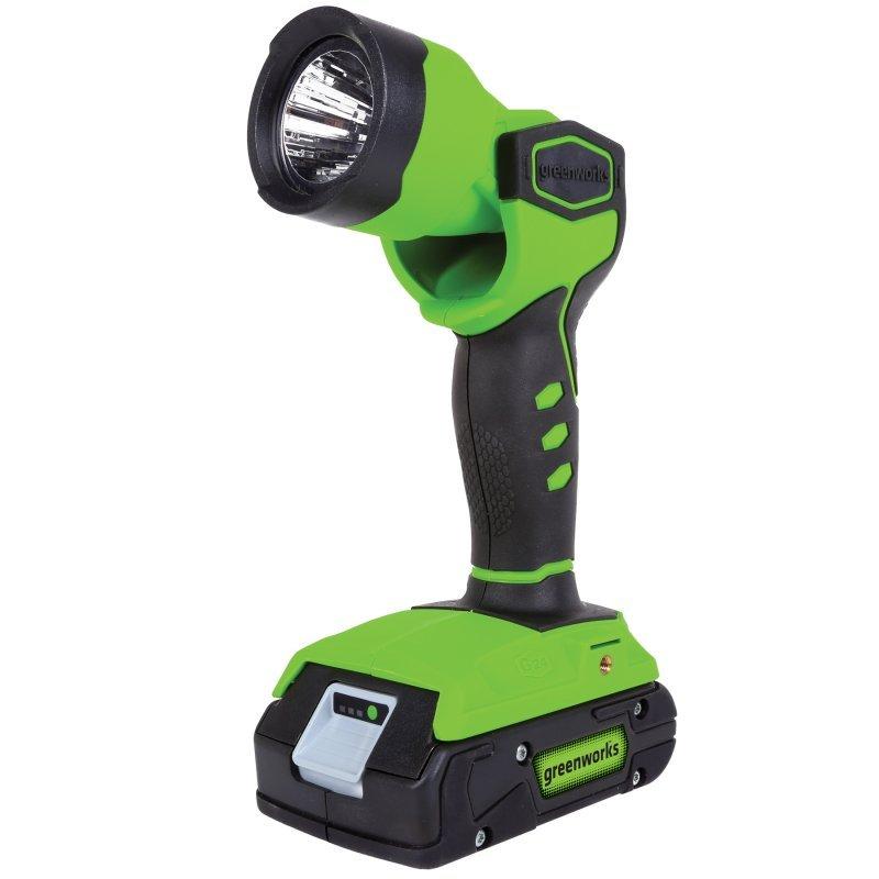 Фонарь аккумуляторный Greenworks G24WL, 24 В (без АКБ и ЗУ)Фонарь Focusray FR-140Фонарь аккумуляторный Greenworks G24WL имеет компактный и удобный дизайн. Мощные светодиоды освещают рабочую поверхность и позволяют работать в любое время суток. Высокопроизводительный 24V литий-ионный аккумулятор сохранит свою мощность даже после множества разрядок-зарядок. Фонарь имеет поворотный рефлектор с углом вращения 135°. Имеется крепление на ремень. Технические характеристики: - Номинальное напряжение: 24 В. - Тип фонаря: светодиодный. - Световой поток: 100 люмен. - Время работы: 20 часов. - Угол вращения: 135°. - Вес: 0,82 кг. Аккумуляторная батарея и зарядное устройство в комплект не входят. Работает с аккумуляторами Greenworks G24 (арт. 2902707, 2902807) и зарядным устройством G24С (арт. 2903607).