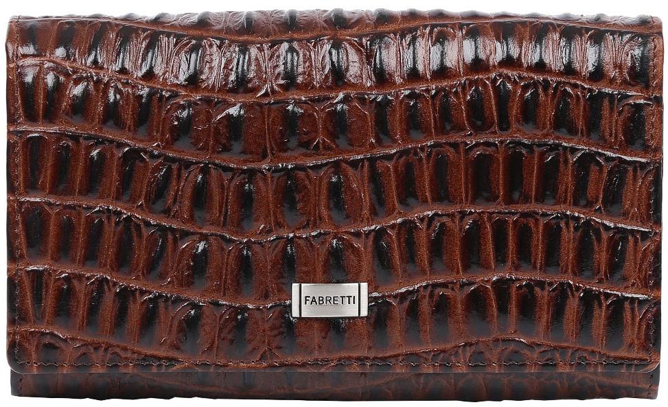 Кошелек женский Fabretti, цвет: коричневый. 60001BM8434-58AEВместительный кошелек от итальянского бренда Fabretti выполнен из натуральной кожи с тиснением под крокодила. Фурнитура в серебряном цвете превращает модель в невероятно изящный аксессуар. Внутри находятся четыре вместительных отделения для купюр, одно из которых закрывается на прочную молнию. Дизайнеры также добавили удобный карман для мелочи с изысканным рамочным замком. Вы с легкостью сможете разместить свои кредитные и дисконтные карточки с помощью 6 отделений. Кошелек закрывается на прочную заклепку.