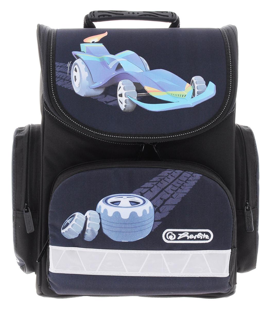 Herlitz Ранец школьный Design Car72523WDШкольный ранец Herlitz Design Car выполнен из легкого и прочного материала.Ранец имеет одно основное отделение, закрывающееся клапаном на застежку-молнию с двумя бегунками. Клапан полностью откидывается, что существенно облегчает пользование ранцем. На внутренней части клапана находится прозрачный пластиковый кармашек, в который можно поместить данные о владельце ранца. Внутри главного отделения расположена мягкая перегородка для тетрадей или учебников. На лицевой стороне ранца находится накладной карман на застежке-молнии. По бокам ранца размещены два накладных кармана на молнии.Ортопедическая спинка, созданная по специальной технологии из дышащего материала, равномерно распределяет нагрузку на плечевые суставы и спину. В нижней части спинки расположен поясничный упор - небольшой валик, на который при правильном ношении ранца будет приходиться основная нагрузка.Изделие оснащено удобной ручкой для переноски в руке и двумя широкими лямками, регулируемой длины. У ранца имеются светоотражатели. Дно ранца из прочного материала легко очищается от загрязнений.Многофункциональный школьный ранец станет незаменимым спутником вашего ребенка в походах за знаниями.Вес ранца без наполнения: 1 кг.Рекомендуемый возраст: от 6 лет.