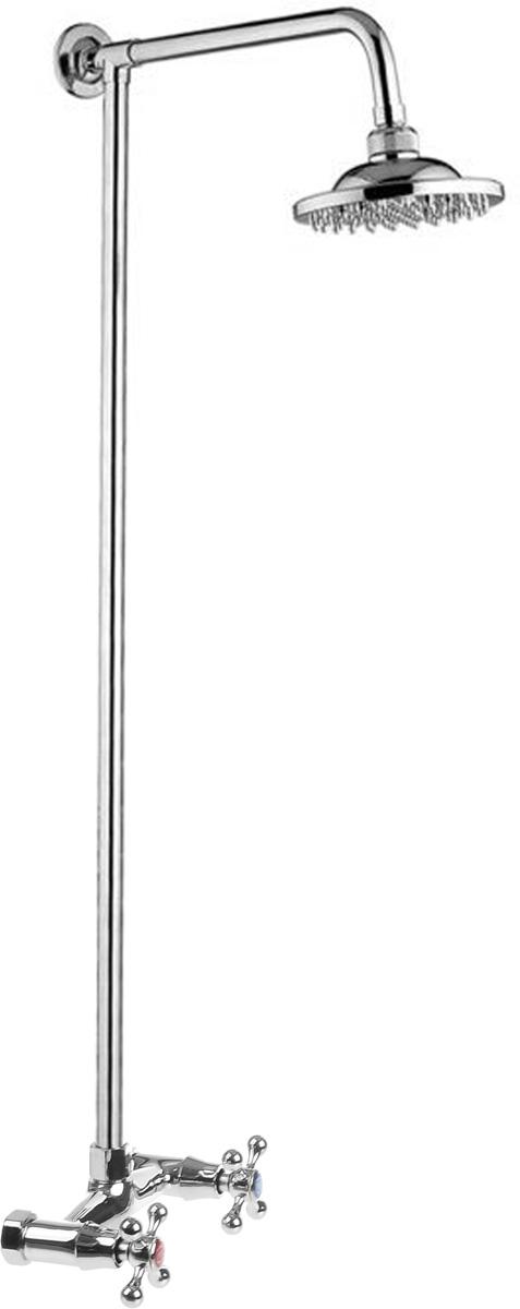 Смеситель для душа РМС, с верхней лейкой. SL80-003-168/5/1Смеситель для душа РМС сочетает в себе отличные эксплуатационные характеристики и оригинальный дизайн. Латунные кран-буксы обеспечивают точную регулировку температуры воды за счет максимального поворота на 180°. Хромоникелевое покрытие придает изделию яркий металлический блеск и эстетичный внешний вид. Устойчив к кислотным и щелочным чистящим средствам. Смеситель РМС эргономичен, прост в монтаже и удобен в использовании. Длина штанги: 86 см.