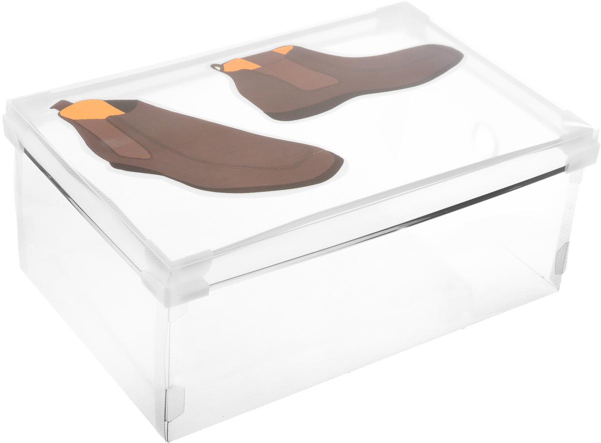 Короб для хранения обуви Miolla, 34 х 22 х 12 смS03301004Короб Miolla изготовлен из полипропилена с изображением пары ботинок. Предназначен для хранения обуви. Снабжен крышкой, которая поможет защитить содержимое от моли, пыли и влаги. Стильный и практичный короб станет хорошим приобретением и пригодится в каждом доме.
