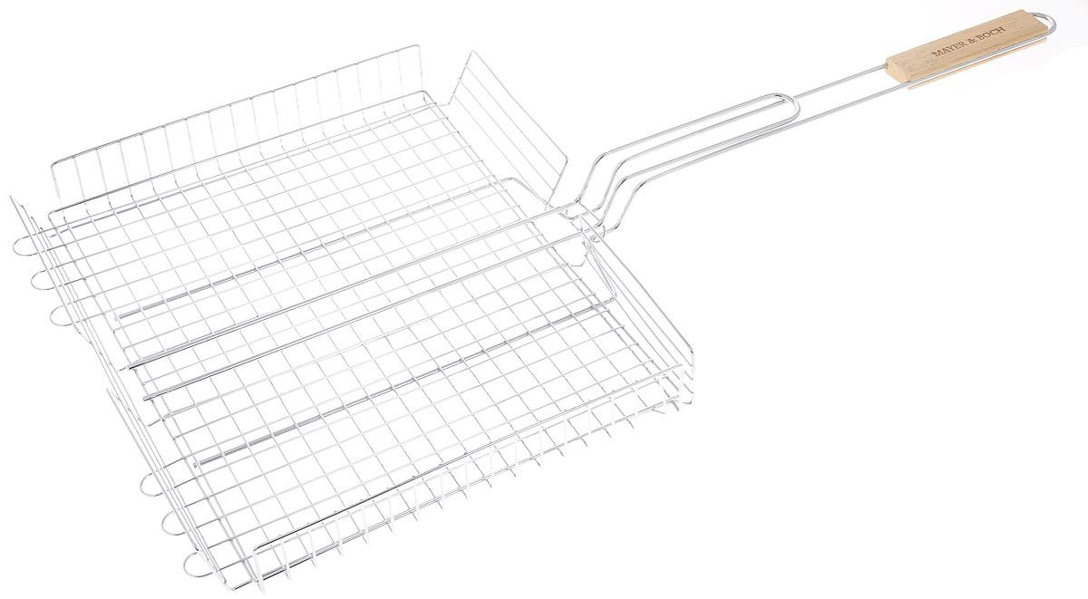 Решетка для барбекю Mayer & Boch, 39 х 36 х 5 смТДД28001Решетка для барбекю Mayer & Boch изготовлена из высококачественного металла. Ручка изготовлена из дерева. Решетка снабжена регулируемой сеткой с зажимом, которая позволит вам приготовить любой продукт, от тонких до крупных ломтиков, рыбу, мясо или овощи на углях. Изделие легко переворачивается. Такая решетка - отличное решение для использования на природе. Процесс готовки на углях соберет друзей вокруг огня, а вкус блюд нежных, сочных, с запахом дымка и специй, создаст незабываемую атмосферу праздника на вашем пикнике. Размер решетки (без учета ручки): 39 х 36 х 5 см. Длина ручки: 41 см.
