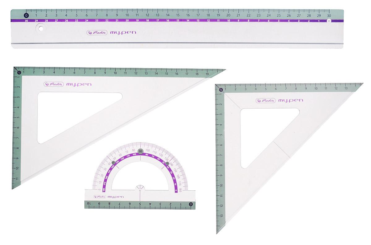 Herlitz Геометрический набор 4 предмета72523WDГеометрический набор Herlitz выполнен из прочного пластика голубого цвета.Набор включает в себя все, что необходимо школьнику: линейку 30 см, транспортир на 180 градусов, два треугольника (19 см, 13 см).Каждый чертежный инструмент имеет свои функциональные особенности, что делает работу с ними особенно удобной и легкой.Набор подходит для правшей и левшей.