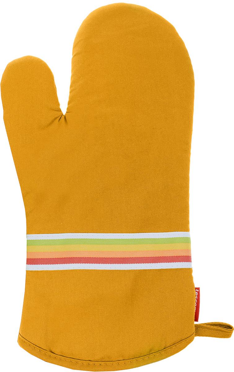 Рукавица-прихватка Tescoma Presto Tone, цвет: желтый, 33 х 18 смVT-1520(SR)Рукавица-прихватка Tescoma Presto Tone, изготовленная из 100% хлопка и термостойкого силикона, имеет яркий дизайн. Для простоты и удобства хранения, изделие оснащено петелькой для подвешивания и магнитом. Такая прихватка защитит ваши руки от высоких температур и предотвратит появление ожогов. Рекомендуется стирка при температуре 30°С. Размер изделия (ДхШ): 33 х 18 см.