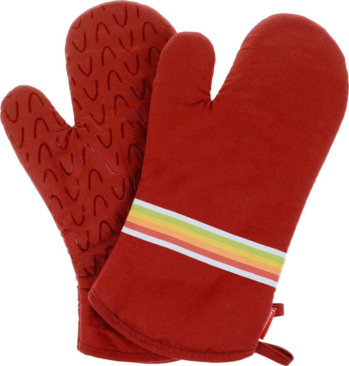 Рукавица-прихватка Tescoma Presto Tone, цвет: красный, 33 х 18 см, 2 шт639751_красныйРукавица-прихватка Tescoma Presto Tone, изготовленная из 100% хлопка и термостойкого силикона, имеет яркий дизайн. Для простоты и удобства хранения, изделие оснащено петелькой для подвешивания и магнитом. Такая прихватка защитит ваши руки от высоких температур и предотвратит появление ожогов. Рекомендуется стирка при температуре 30°С. Размер изделия (ДхШ): 33 х 18 см.Комплектация: 2 шт.