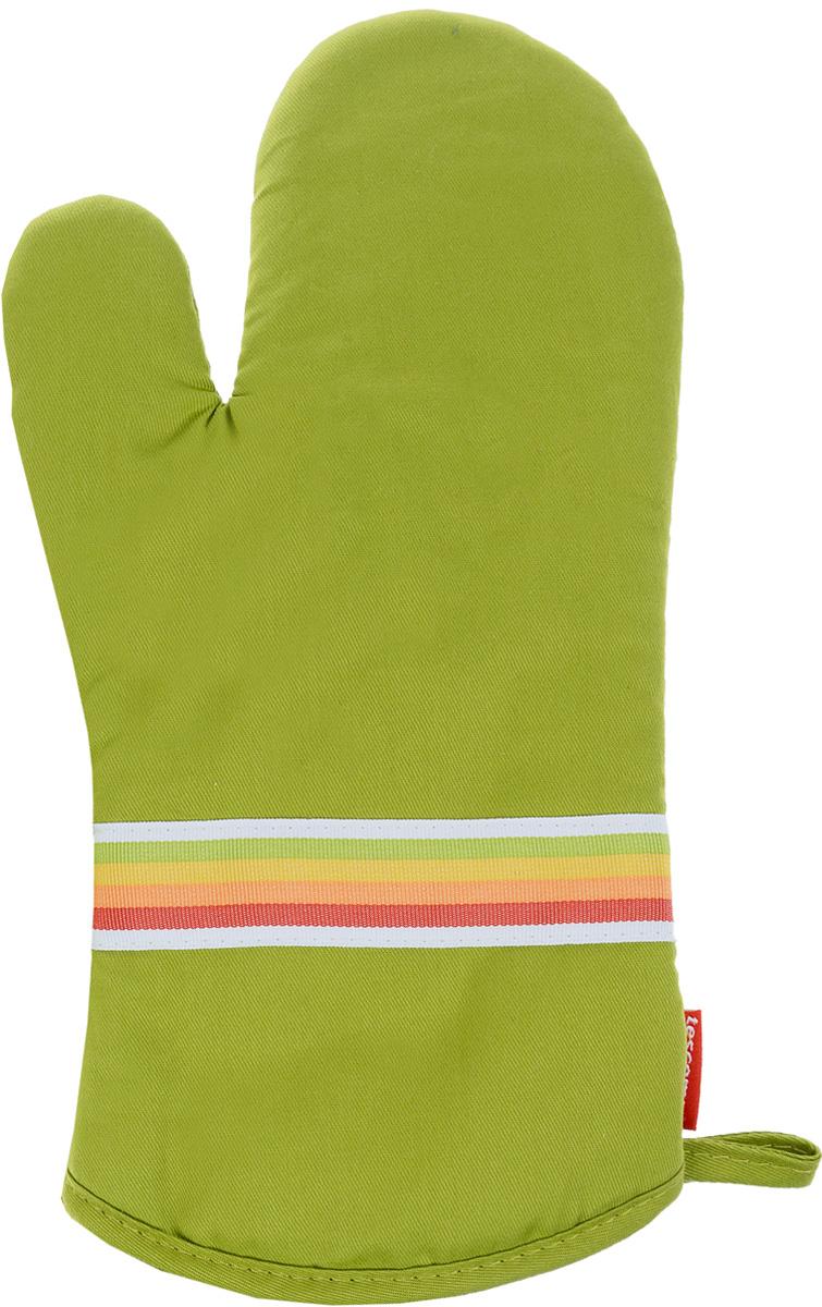 Рукавица-прихватка Tescoma Presto Tone, цвет: зеленый, 33 х 18 смVT-1520(SR)Рукавица-прихватка Tescoma Presto Tone, изготовленная из 100% хлопка и термостойкого силикона, имеет яркий дизайн. Для простоты и удобства хранения, изделие оснащено петелькой для подвешивания и магнитом. Такая прихватка защитит ваши руки от высоких температур и предотвратит появление ожогов. Рекомендуется стирка при температуре 30°С. Размер изделия (ДхШ): 33 х 18 см.