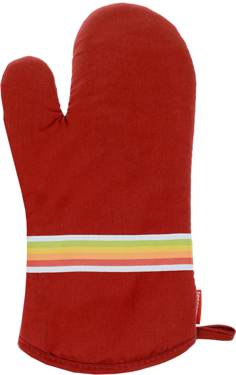 Рукавица-прихватка Tescoma Presto Tone, цвет: красный, 33 х 18 смVT-1520(SR)Рукавица-прихватка Tescoma Presto Tone, изготовленная из 100% хлопка и термостойкого силикона, имеет яркий дизайн. Для простоты и удобства хранения, изделие оснащено петелькой для подвешивания и магнитом. Такая прихватка защитит ваши руки от высоких температур и предотвратит появление ожогов. Рекомендуется стирка при температуре 30°С. Размер изделия (ДхШ): 33 х 18 см.