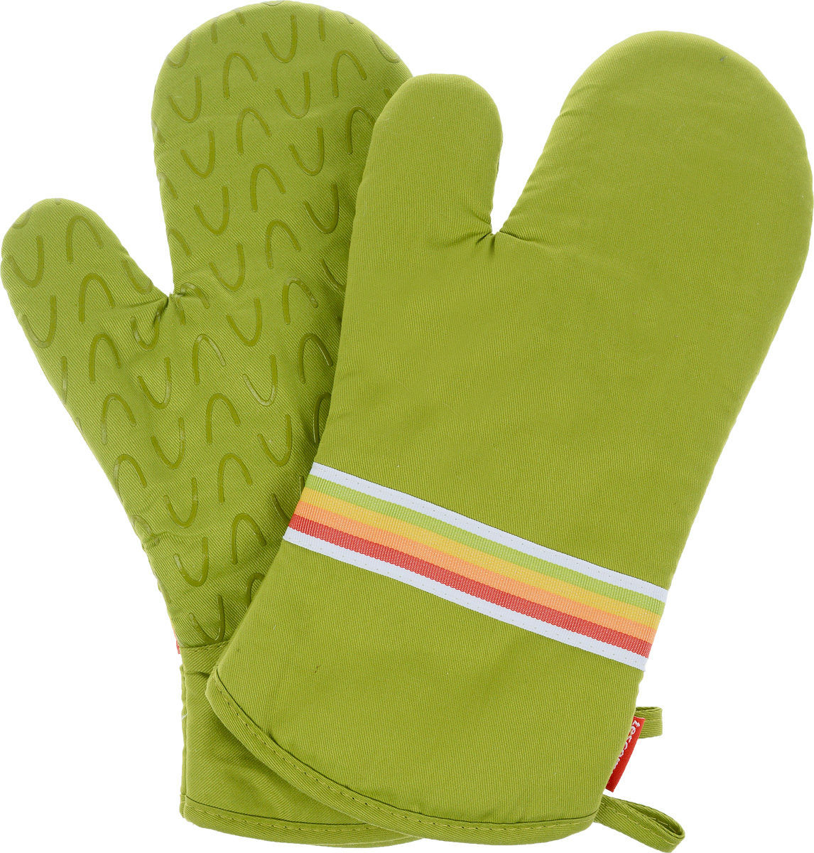 Рукавица-прихватка Tescoma Presto Tone, цвет: зеленый, 33 х 18 см, 2 штVT-1520(SR)Рукавица-прихватка Tescoma Presto Tone, изготовленная из 100% хлопка и термостойкого силикона, имеет яркий дизайн. Для простоты и удобства хранения, изделие оснащено петелькой для подвешивания и магнитом. Такая прихватка защитит ваши руки от высоких температур и предотвратит появление ожогов. Рекомендуется стирка при температуре 30°С. Размер изделия (ДхШ): 33 х 18 см.Комплектация: 2 шт.