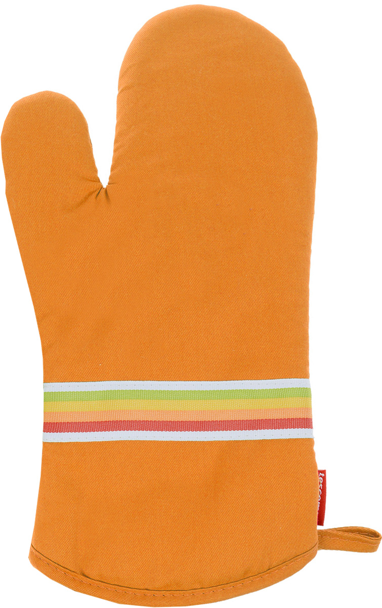Рукавица-прихватка Tescoma Presto Tone, цвет: оранжевый, 33 х 18 смVT-1520(SR)Рукавица-прихватка Tescoma Presto Tone, изготовленная из 100% хлопка и термостойкого силикона, имеет яркий дизайн. Для простоты и удобства хранения, изделие оснащено петелькой для подвешивания и магнитом. Такая прихватка защитит ваши руки от высоких температур и предотвратит появление ожогов. Рекомендуется стирка при температуре 30°С. Размер изделия (ДхШ): 33 х 18 см.