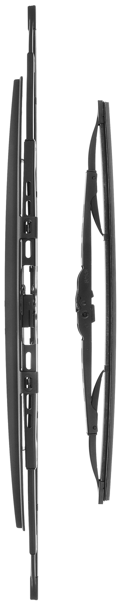 Щетка стеклоочистителя Bosch 601S, каркасная, со спойлером, длина 40/60 см, 2 шт1.645-370.0Комплект Bosch 601S состоит из двух щеток разной длины, выполненных посовременной технологии извысококачественныхматериалов. Они обеспечивает идеальнуюочистку стекла в любую погоду.TWIN Spoiler - серия классических каркасных щеток со спойлером от компанииBosch. Эти щетки имеют полностью металлический каркас с двойной защитой откоррозии и сверхточный профиль резинового элемента с двумя чистящимикромками. Спойлер выполнен в виде крыла, который закрывает каркас щетки отвоздушного потока.Комплектация: 2 шт.Длина щеток: 40 см; 60 см.