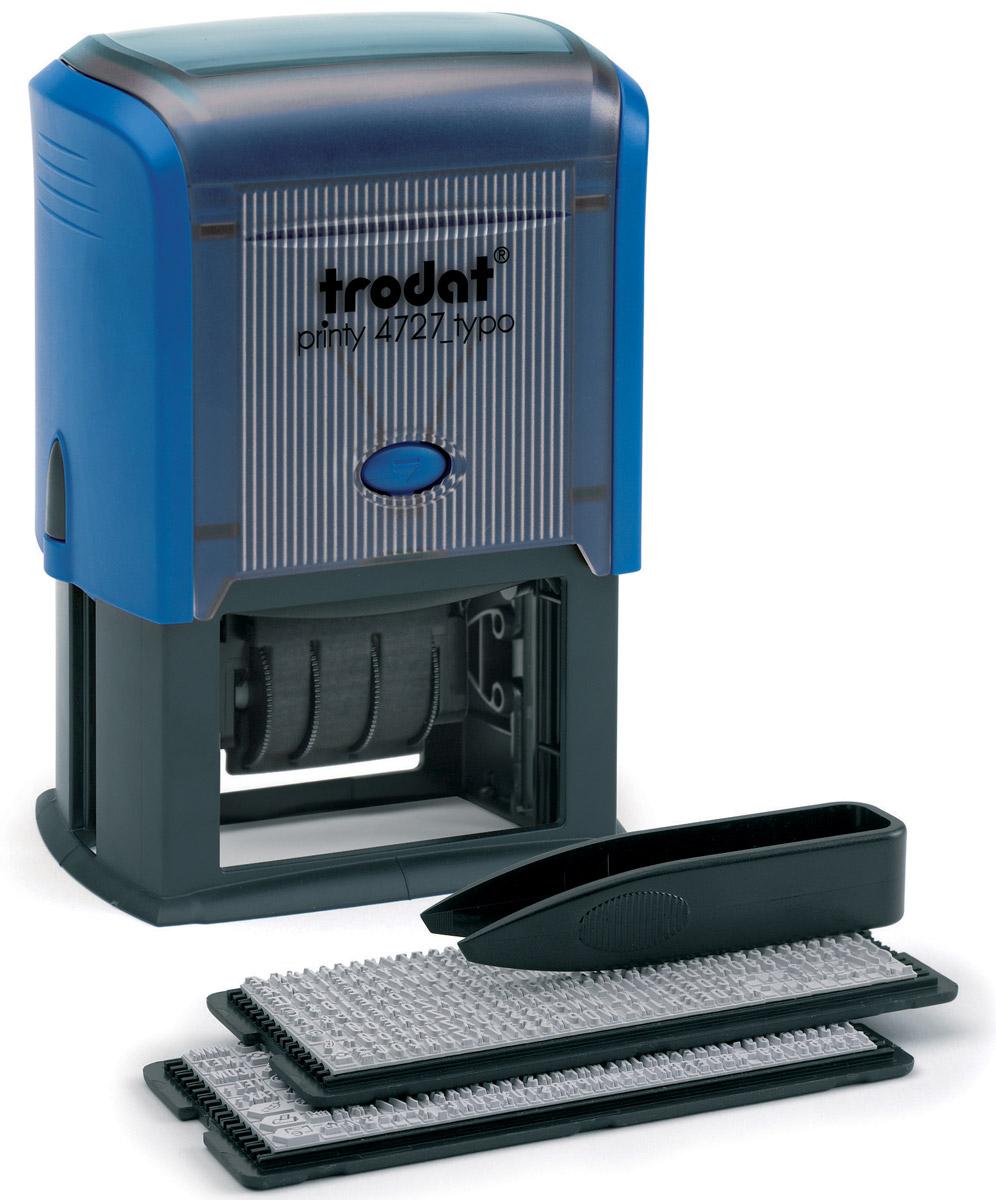 Trodat Датер самонаборный шестистрочный Typo месяц прописью4727/DBДатер самонаборный шестистрочный Trodat Typo имеет прочный пластиковый корпус с автоматическим окрашиванием.Дата указывается в центре, сверху и снизу строки для набора текста без рамки. В комплект также входят пинцет, касса символов 6005, касса 6006, сменная штемпельная подушка.Изделие подходит для работы в бухгалтерии, на складе, в банке.Максимальный размер - 60 х 40 мм. Максимальное количество знаков в строке основного шрифта - 36, шрифта для выделения текста - 25. Максимальное количество строк - 6 плюс дата. Месяц указывается прописью.
