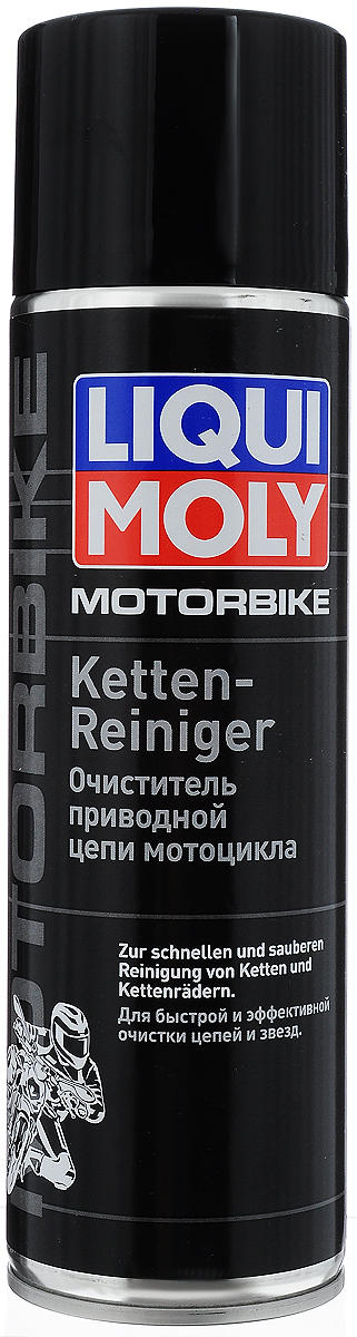 Очиститель приводной цепи мотоцикла Liqui Moly, 500 мл93287516Очиститель приводной цепи мотоцикла Liqui Moly на основе высокоэффективной комбинации растворителей обеспечивает быструю и эффективную очистку и обезжиривание различных конструкционных элементов двухколесных транспортных средств. Очиститель специально разработан для очистки цепей мотоциклов, велосипедов, мотороллеров и мопедов. Подходит для очистки цепей с кольцеобразными звеньями, для цепей с сальниками круглого и х-образного сечения, а также без сальников. Состав: легкий легроин, пропелент: диоксил углерода, более 30% алифатических углеводородов. пропеллент. Не содержит озоноразрушающих веществ. Товар сертифицирован.