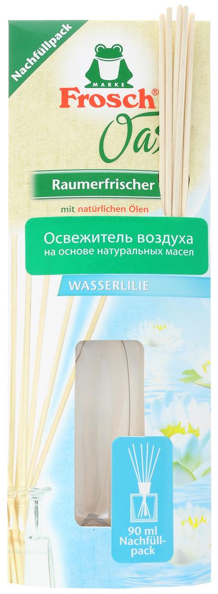 Ароматизатор воздуха Frosch Водяная лилия, сменный блок, 90 мл106-026Ароматизатор воздуха Frosch Водяная лилия представляет собой чувственное вдохновение от природы в пластиковом пакете. Натуральный ненавязчивый аромат благотворно влияет на микроклимат в помещении, вызывает приятные воспоминания и пробуждает чувства. Аромат лилии обладает успокаивающим эффектом и способствует расслаблению. Палочки изготовлены из натуральной древесины. Способ применения: отрежьте край пакета ножницами и перелейте в уже имеющийся стеклянный флакон, затем вставьте палочки. Чем больше деревянных палочек вы используете, тем интенсивней аромат в комнате. Товар сертифицирован.