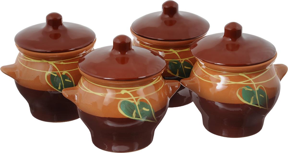 """Набор горшочков для запекания Борисовская керамика """"Престиж"""", цвет: светло-коричневый, коричневый, зеленый, 700 мл, 4 шт"""