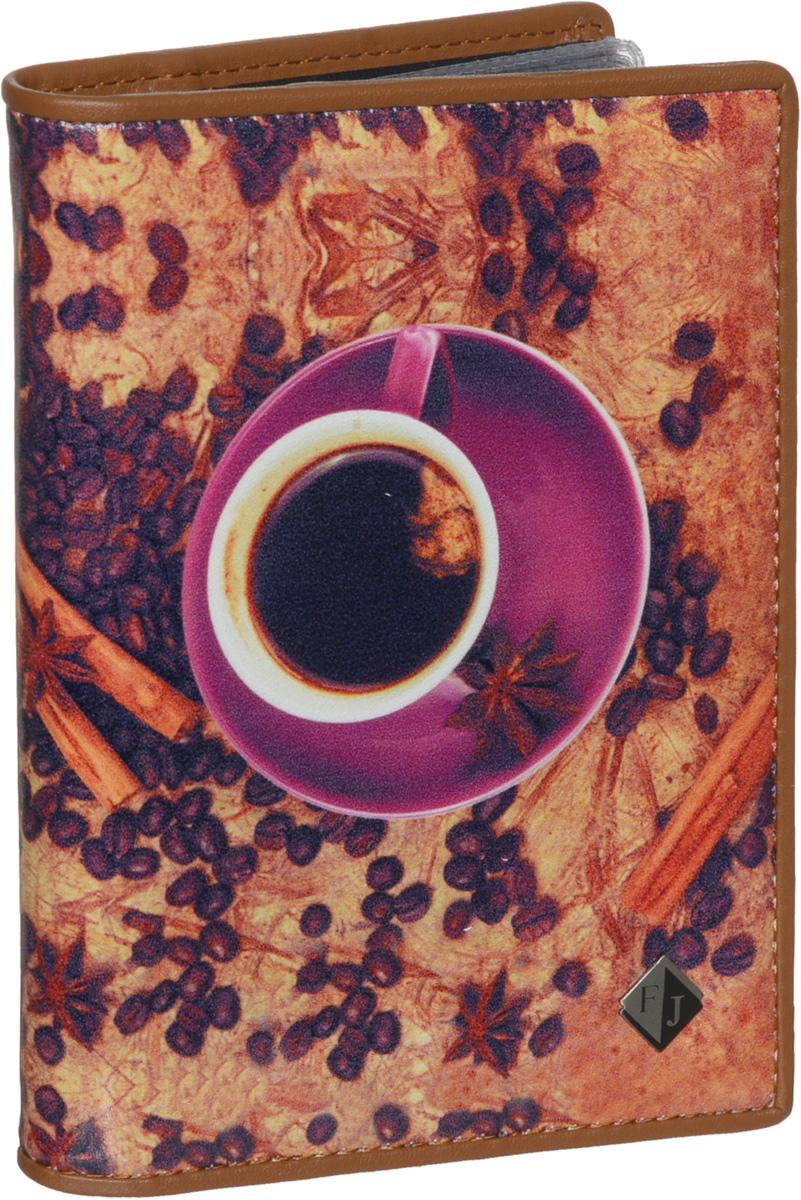 Обложка для паспорта и автодокументов женская Flioraj, цвет: коричневый, сиреневый. 136-Coffeebeans052908_05Удобная и практичная обложка для паспорта и автодокументов от Flioraj выполнена из натуральной кожи высокого качества. Она украшена фотопринтом с изображением чашки кофе, кофейных зерен и цветов. Обложка содержит два прозрачных клапана для фиксации паспорта. Также внутри располагается съемный блок с файлами разного размера для автодокументов. Такая яркая и оригинальная обложка не только поможет сохранить внешний виддокументов, но и станет стильным аксессуаром, идеально подходящим вашему образу.Обложка для паспорта и автодокументов может стать отличным подарком.