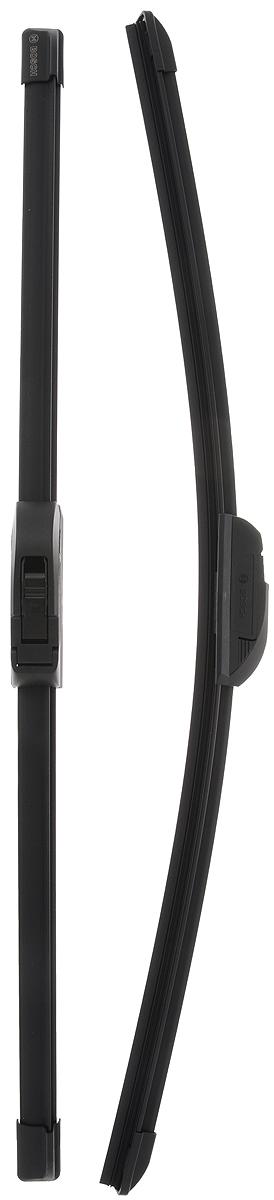 Щетка стеклоочистителя Bosch AR550S, бескаркасная, со спойлером, длина 53/55 см, 2 штIRK-503Комплект Bosch AR550S состоит из двух бескаркасных щеток разного размера. Щетки выполнены по современной технологии из высококачественных материалов и предназначены для установки на переднее стекло автомобиля. Отличаются высоким качеством исполнения и оптимально подходят для замены оригинальных щеток, установленных на конвейере. Обеспечивают качественную очистку стекла в любую погоду.AEROTWIN - серия бескаркасных щеток компании Bosch. Щетки имеют встроенный аэродинамический спойлер, что делает их эффективными на высоких скоростях, и изготавливаются из многокомпонентной резины с применением натурального каучука. Комплектация: 2 шт.