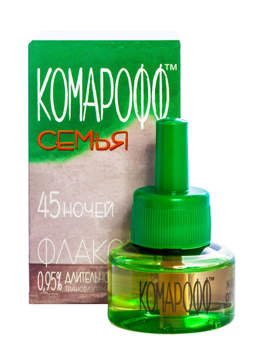 Жидкость от насекомых Комарофф Семья, сменный флакон, 45 ночей, 30 млGC220/05Жидкость Комарофф Семья незаменима для уничтожения комаров и других летающих насекомых (москитов, мошек) в помещении. Специально разработанная рецептура, без запаха, гарантирует безопасность и эффективность использования. Один флакон жидкости обеспечивает надежную защиту от комаров на протяжении 45 ночей даже при открытых окнах! Состав: 0,15% трансфлутрин, 0,8% праллетрин, растворитель, стабилизатор.Товар сертифицирован.