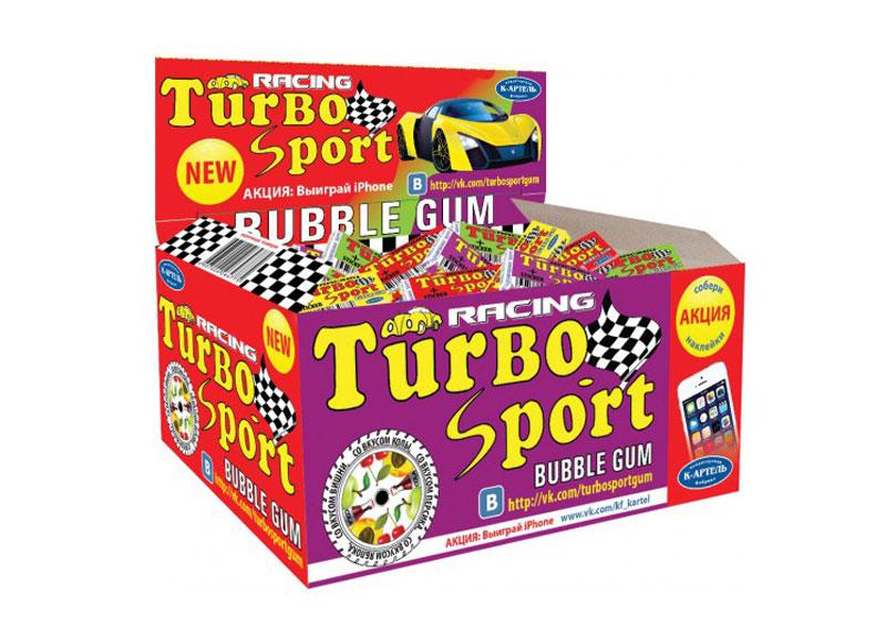 Жевательная резинка Вкусная помощь Turbo, 100 шт0120710Жвачка Турбо и сейчас остается такой же вкусной, настоящей, и все с теми же изумительными вкладышами. В упаковке - 100 вкуснейших жвачек с знакомыми с детства вкусами: кола, персик, яблоко и вишня.