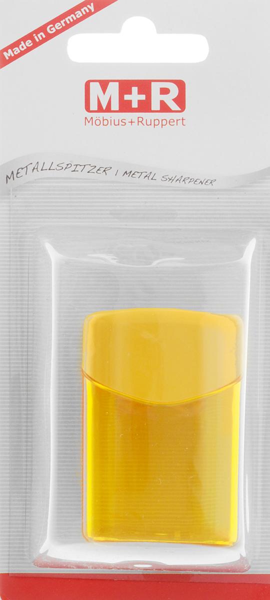 M+R Точилка Quattro Swing с контейнером цвет желтый2010440Точилка M+R Quattro Swing в пластиковом корпусе прямоугольной формы предназначена для затачивания карандашей.Точилка имеет одно отверстие для карандашей. Острое лезвие обеспечивает высококачественную и точную заточку. Карандаш затачивается легко и аккуратно, а опилки после заточки остаются в специальном полупрозрачном контейнере.